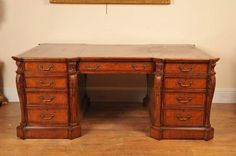 """""""Walnut Victorian Partners Desk"""". I could live with something like this too."""