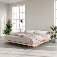 The Floyd Platform Bed in birch offers a modern look that fits with any home. Requires no tools for assembly and ships straight to your door. Modern Platform Bed, Bed Platform, Room Ideas Bedroom, Home Decor Bedroom, Dream Rooms, Dream Bedroom, Lit Plate-forme Diy, Minimalist Bedroom, Luxurious Bedrooms