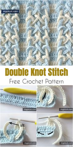 Crochet Double Knot Stitch Free Pattern Today I would like to show you a beautiful stitch. It's called Double Knot Stitch. It is not complicated so everyone can try it. Below is a beautiful inspiration from mypicot. Crochet Stitches Free, Crochet Motifs, Tunisian Crochet, Crochet Blanket Patterns, Learn To Crochet, Free Crochet, Stitch Patterns, Knit Crochet, Afghan Patterns