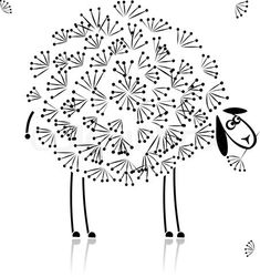 Vector of 'Funny sheep, sketch for your design'