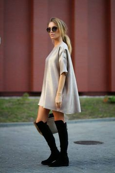 Just Paul Blush Satin Mini Tunic Dress