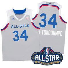 Men s 2017 New Orleans All-Star Eastern Conference Bucks  34 Giannis  Antetokounmpo Gray Jersey d6e144e98