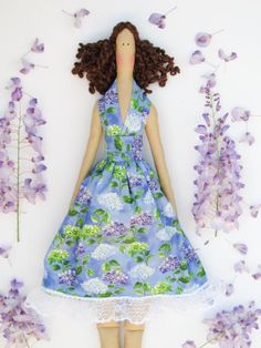 Tilda doll cloth doll lilac purple blue by HappyDollsByLesya
