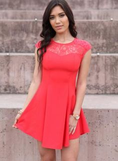 Coral Cocktail Dress - Coral Sleeveless Skater Dress  http://www.ustrendy.com/store/product/94429/coral-sleeveless-skater-dress-with-lace-and-cutout-detial
