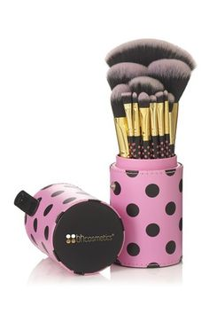 11 Piece Pink A Dot Brush Set by BH Cosmetics