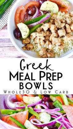 This delicious greek meal prep bowl is compliant and kept friendly! It's… This delicious greek meal prep bowl is compliant and kept friendly! It's a super easy and healthy make ahead lunch that has tons of flavor! Lunch Meal Prep, Meal Prep Bowls, Healthy Meal Prep, Healthy Eating, Low Calorie Meal Prep Lunches, 250 Calorie Meals, Greek Recipes, Whole Food Recipes, Dinner Recipes