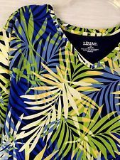 2X 22 24 Catherines Green Yellow Blue Fern Cotton Short Sleeve Knit Top T Shirt HAVE Z