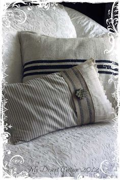 Beautiful grain ticking pillow with furniture strapping and pleated linen from…