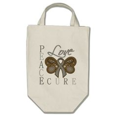Brain Tumor Butterfly Peace Love Cure Bags by GiftsForAwareness.com