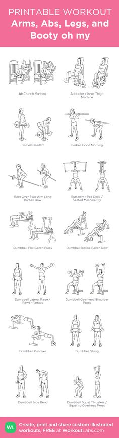 Arms, Abs, Legs, and Booty oh my:my visual workout created at WorkoutLabs.com • Click through to customize and download as a FREE PDF! #customworkout