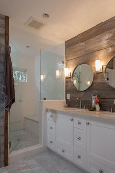 Looking for Rustic Bathroom and Double Vanity Bathroom ideas? Browse Rustic Bathroom and Double Vanity Bathroom images for decor, layout, furniture, and storage inspiration from HGTV. White Wood Paneling, Bathroom Red, Bathroom Cabinets, Beige Tile Bathroom, Glitter Bathroom, Bathroom Flowers, Bathroom Things, Design Bathroom, Bathroom Furniture
