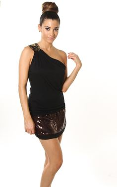 Black One Shoulder Sexy Jersey Top W/ Sequin Embellishment $9.95 @Wendy Werley-Williams.PINKCLUBWEAR.com