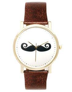 ASOS Moustache Face Watch #mens #moustache #watch #brown #wantering