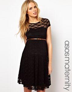 ASOS Maternity Lace Skater Dress With Belt #Schwangerschaft #Umstandkleid #Zivile #Hochzeit #Schwarz