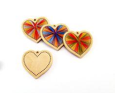 Corazón de kit DIY de bordado de San Valentín caseras ornamento de madera espacios en blanco para DIY regalo llave de cadena colgante moderno bordado Valentín