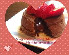 Molten Lava Chocolate Cake - 5 Ingredients and just 10 minutes to make. #glutenfree #dairyfree