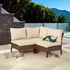 Latitude Run Ajala Patio Sofa with Cushions Small Patio Furniture, Sofa Furniture, Furniture Ideas, Garden Furniture, Patio Daybed, Patio Chairs, Outdoor Areas, Outdoor Seating, Outdoor Decor