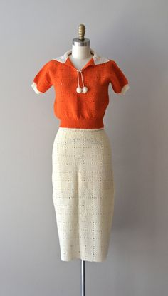 1930's hand-knitted two-piece dress.