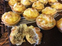 Sausage egg and Gruyere breakfast poppers Brunch Recipes, Breakfast Recipes, Corned Beef Hash, Breakfast Pastries, Sausage And Egg, Breakfast Options, Pancakes And Waffles, Sausage Recipes, Breakfast Casserole