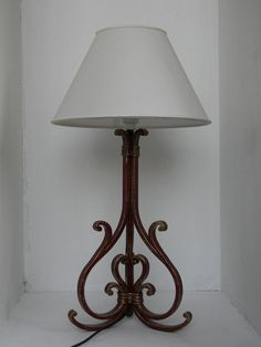 Wrought Iron Lamp Handmade Flat Iron 15 X 10 Mm With Shade Cone Measuring  65 Cm In Height (excluding Lampshade) And Base 25 Cm X 25 Cm