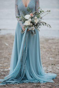 Blue wedding dress    #aislesociety #wedding #weddingday #weddingideas #weddingdress #bouquet #blueweddingdress