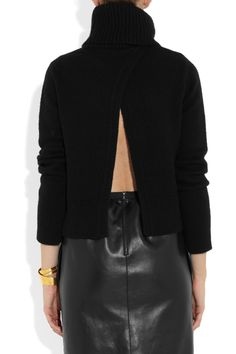 Alexander McQueen | Yak and wool-blend open-back turtleneck sweater | NET-A-PORTER.COM