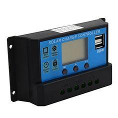 CoZroom LCD Solar Panel Adapter Regulator Intelligent 20A 12V/24V for Environment Monitoring