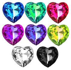 """Shiny Heart Crystal Set Vectors done in via Illustrator. Created it as practice using tools in the software. It's also a """"Free to Use but Credit Back"""" Resource. Collages, Collage Art, Heart Illustration, Journal Stickers, Retro Aesthetic, Art Club, Cute Stickers, Tattoo Inspiration, Scrapbook Paper"""