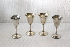 Vintage Silverplate F. B. Rogers Goblets, 1960s, One is Engraved and Dated 1970, Beautiful Silver Plate Collectibles Made in Spain by QUEENIESECLECTIC on Etsy