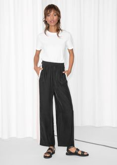 & Other Stories image 2 of Side Panel Trousers in Black/Stripe