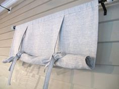 Gray Linen Long Swedish Roll Up Shade Stage Coach Blind Tie Up Curtain Swag Balloon Custom Made to Order Más Roll Up Curtains, Roman Curtains, Linen Curtains, Drapery, Diy Window Shades, Window Blinds, Vintage Window Treatments, Tie Up Shades, Woven Shades