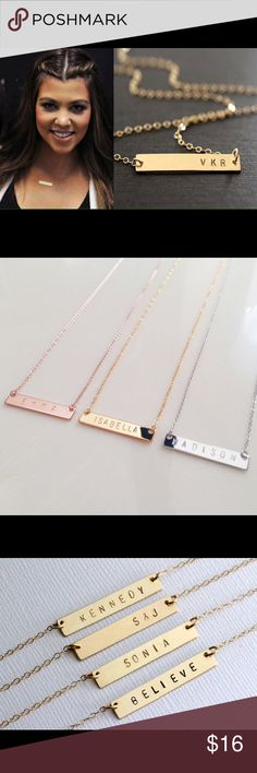 """Handstamped Personalized Name Bar  Necklace. Chain Length: 18"""".  Bar Pendant Size: Approx .25"""" x 1.38"""". LETTERS: UPPER CASE.  FONTS: 3MM GOTHIC.  Max No of Letters & Numbers: 7. Colors: Gold Plated, Silver Plated (Rose Gold out of Stock).  NOTE: To custom order please comment below with your custom request.  Since all lettering is hand stamped, there may be slight (often minimal) differences in alignment and depth. This gives each and every piece we create its unique qualities and identifies…"""