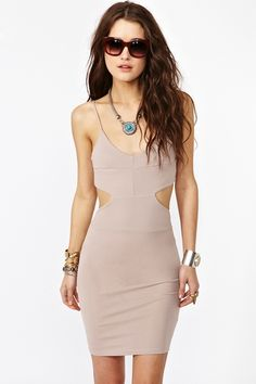 Neutral Taupe... Cutout dress... Curves needed to fill this dress out! :)