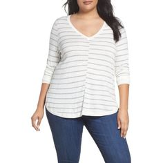 Plus Size Women's Caslon Marled V-Neck Sweater ($69) ❤ liked on Polyvore featuring plus size women's fashion, plus size clothing, plus size tops, plus size sweaters, plus size, women's plus size v neck tops, white v neck sweater, white sweater, plus size v neck sweater and marled sweater