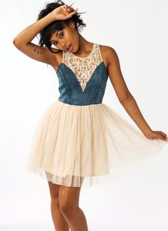Feel flirty and fab in our denim tulle dress