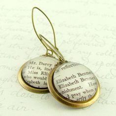 Pride and Prejudice Earrings 'Elizabeth Bennet by JezebelCharms