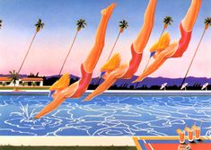 """1980s Athena Collection """"Hollywood Days""""  L.A. California Divers"""