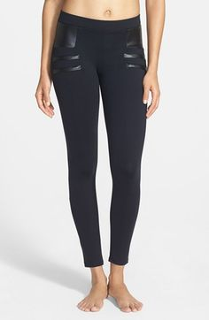 Solow Faux Leather Trim Moto Leggings available at #Nordstrom