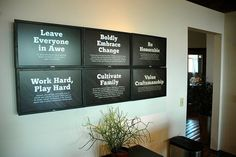 awesome corporate values display Office Wall Design, Office Walls, Office Wall Art, Office Interior Design, Office Interiors, Office Spaces, Corporate Office Decor, Corporate Values, Office Branding