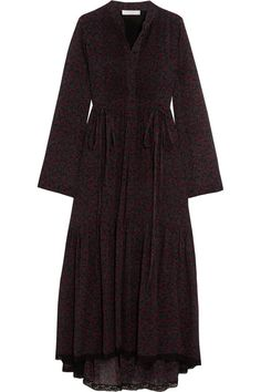 Chloe's diaphanous midi dress is cut from cotton and silk-blend crepon printed with tiny cherries and leaves. The pintucked bib front and drawstring waist ties add shape to the billowy silhouette. It's trimmed with lace at the hem to highlight the romantic fluted pleats.