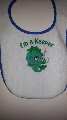 Im a keeper Cotton Terry Bibs Blue