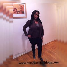 Plus Sized Brown Long Sleeved Blouse #CasualLand #KnitTop #ANY
