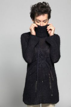 Knitted string sweater - DuendeFashion  - 1