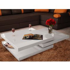 VidaXL Coffee Table 3 Tiers High Gloss White Dining Room Furniture Sideboards Modern Changable Table For Living Room Luxury Furniture Living Room, Modern Coffee Tables, White Coffee Table Modern, White Dining Room Furniture, Coffee Table High Gloss, White Dining Room, Modern Furniture Living Room, Table Furniture, Coffee Table
