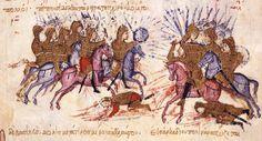 Scylitzes Chronicle f12r. Battle between Byzantine Emperor Michael I Rangabe and Bulgarian Khan Krum