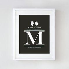 Custom Wedding Gift  Personalized Monogram Art by LePapierStudio