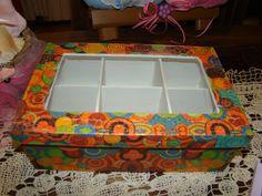 Caja de té x 6 tapa vidrio con decoupage