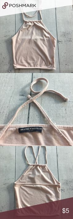 Pale pink Brandy Melville crop top Used condition, neck straps have fraying and slight stain. Brandy Melville Tops Crop Tops