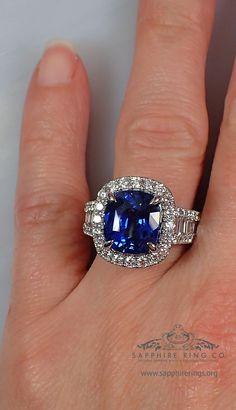 6.12 ct Platinum Sapphire Custom Ring, Cushion Cut Natural Royal Blue Sapphire $57,750.95 - 3167