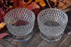 Vintage Indiana Glass Clear Diamond Point Sherbert Cups, Lot of 2, EX!